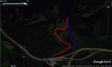 Google Earth screenshot. Red is approach route to base. Blue is descent line. (Drew Brayshaw)
