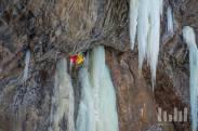 Tim Emmett on first ascent of Fireball 101, M10 (Jonathan Dean Urness)