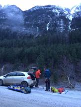 Gearing up for the river crossing to Nite n' Gale, seen to the right in the background (Jean-Marc Savoie)