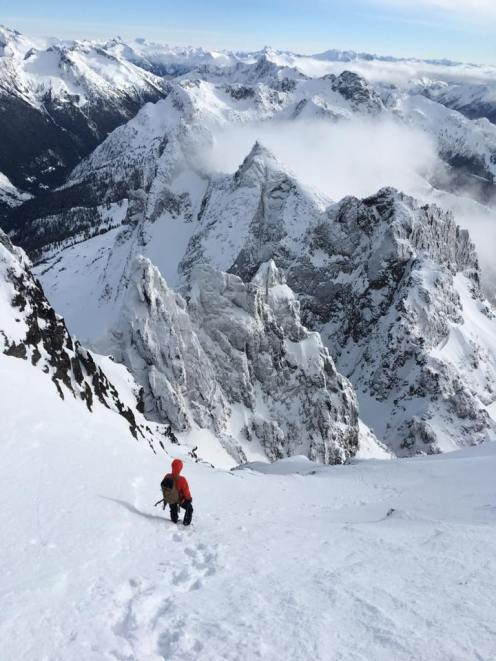 Descending the couloir from the 3rd peak (Marc-André Leclerc)