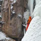 Climbing Pitch 3 of Icy BC (Peter Watson)
