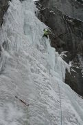 The upper pitch of Night N' Gale was in great shape, can't say the same for the approach ice or the first pitch- lots of running water and some delicate moves to be made to preserve the thin ice separating us from the running water behind it. Steve Janes on lead.