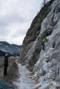 Just past the Dam we found some road side ice to run laps on- here's Danny O'Farrell belaying Steve Janes.