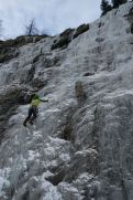 Steve Janes leading roadside ice, beyond Terzaghi Dam.