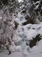 Bighorn Creek Falls, not quite ready to climb (Carolyn Graham)